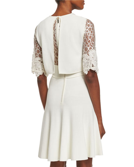 Lace-Inset Popover Dress, Gardenia