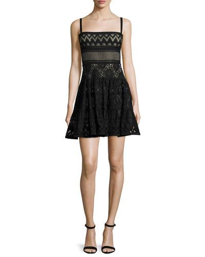 Sleeveless Mixed-Lace Mini Dress, Black