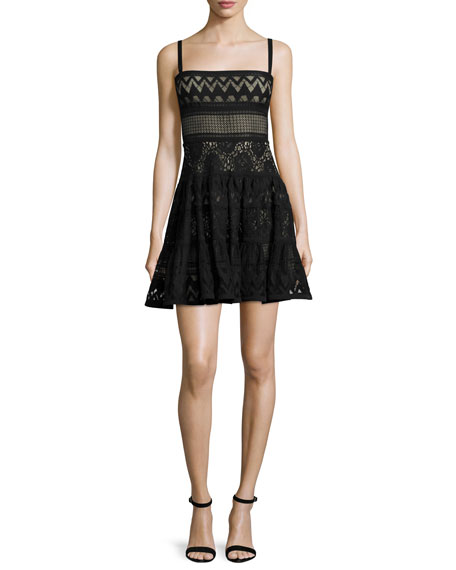 Sleeveless Mixed-Lace Mini Dress, Black