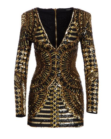Long-Sleeve Embellished Mini Dress, Black/Gold