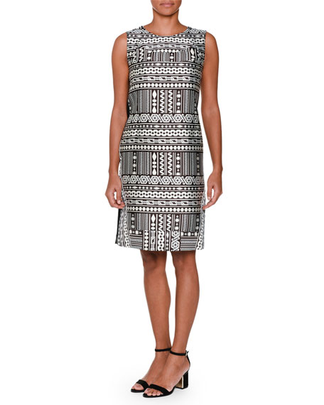 Piazza Sempione Sleeveless Geometric-Front Shift Dress, Black/White