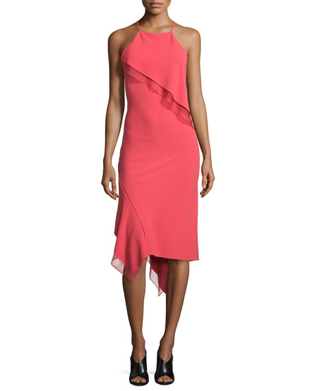 Jason Wu Sleeveless Bias-Ruffle Slip Dress, Berry