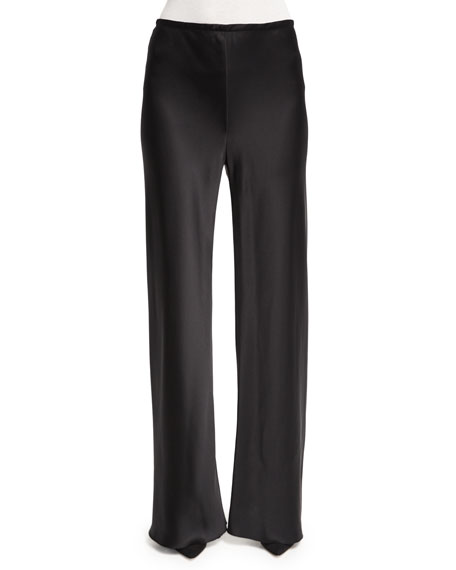 THE ROW Gala Straight-Leg Pants, Black