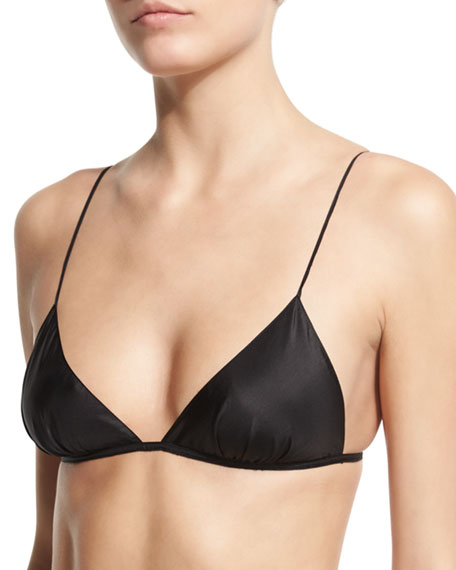 Carr Shantung Triangle Bra, Black
