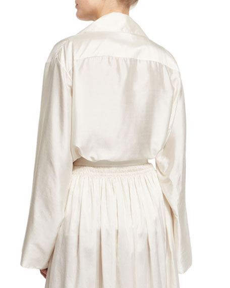 THE ROW Moos Wide-Sleeve Silk Top, Old Lace