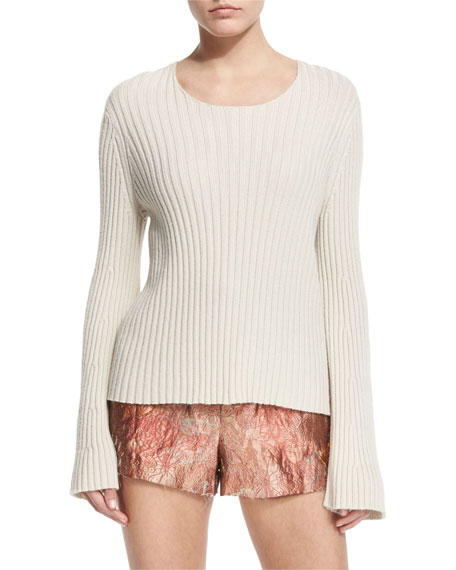 THE ROW Pleata Long-Sleeve Ribbed Sweater, Old Lace