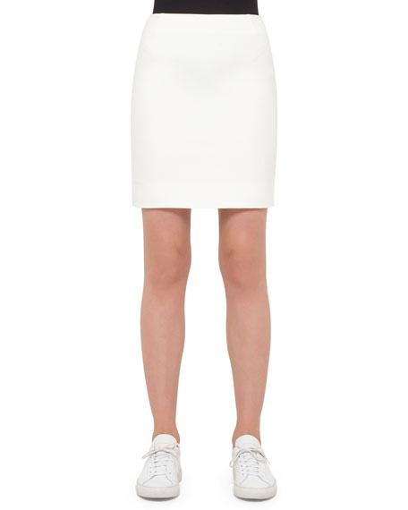 Akris punto Fitted Back-Zip Jersey Skirt, Cream
