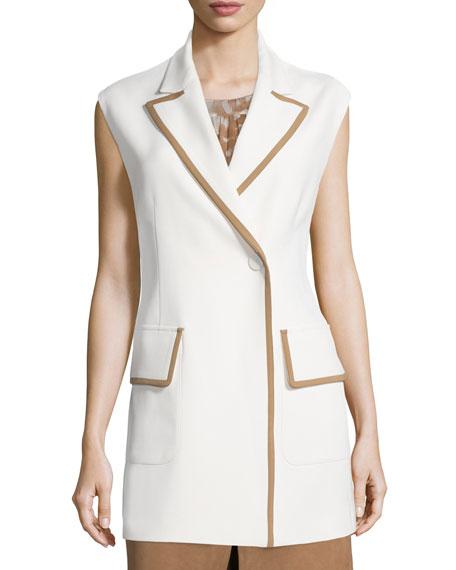 Agnona Snap-Front Two-Tone Long Vest, Ivory
