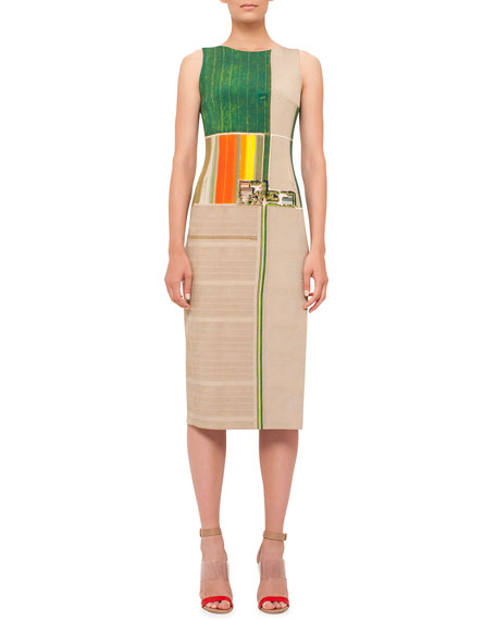 Akris Sleeveless Flower-Farm-Print Sheath Dress, Multi Colors