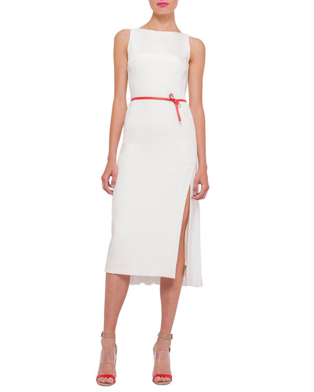 Akris Sleeveless Plisse-Back Sheath Dress, Anemone
