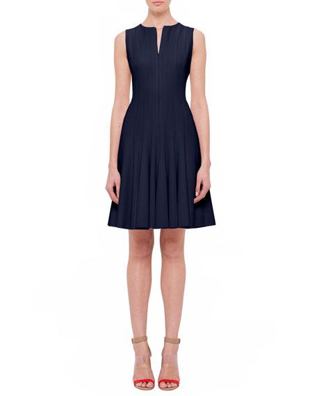 Sleeveless Fit-&-Flare Zip Dress