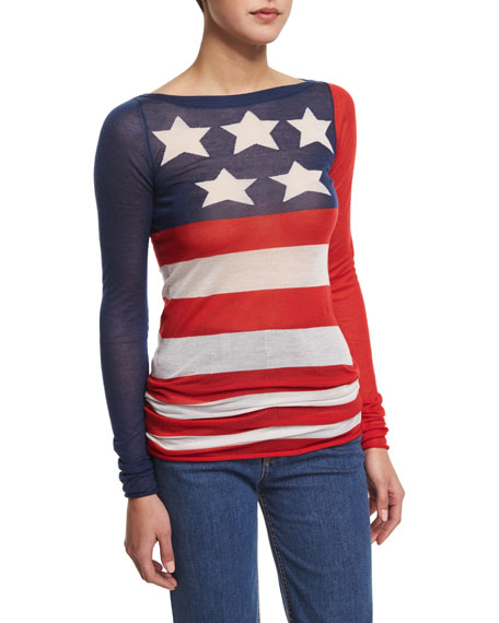 Marc Jacobs Long-Sleeve American-Flag Tunic Top