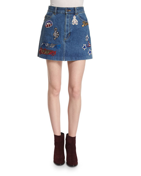 Marc Jacobs Sequin-Embroidered Denim Mini Skirt with Mickey