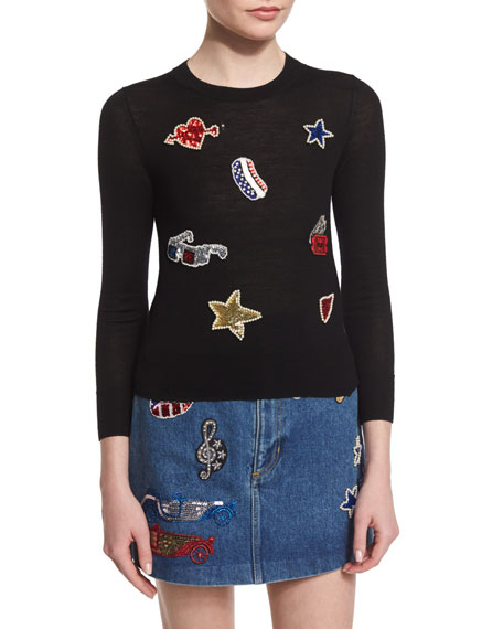 Marc Jacobs Long-Sleeve Embroidered-Patch Sweater, Black