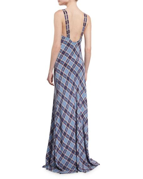 Spaghetti-Strap Plaid Silk Gown, Dusty Blue