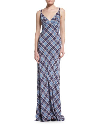 Spaghetti-Strap Plaid Silk Gown, Dusty Blue