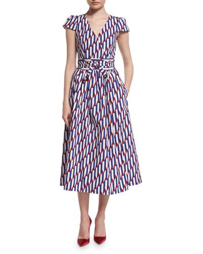 Short-Sleeve Arrow-Print Midi Dress, Blue/Red
