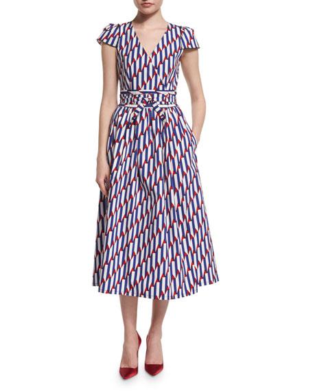 Marc Jacobs Short-Sleeve Arrow-Print Midi Dress, Blue/Red