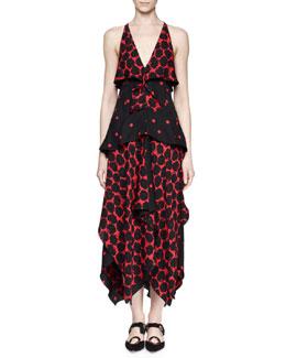 Sleeveless Tiered Handkerchief-Hem Mazi Dress, Black/Crimson