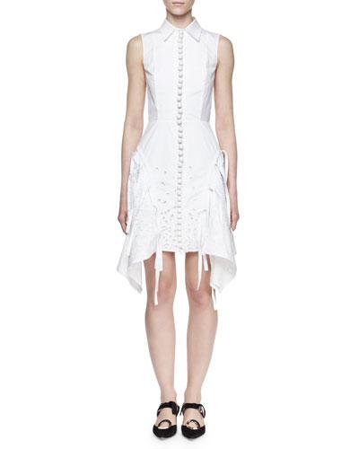 Sleeveless Embroidered Shirtdress, White