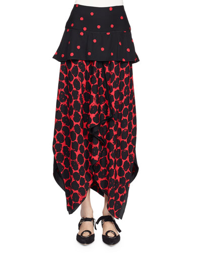 Peplum-Waist Handkerchief-Hem Dot-Print Skirt, Black/Crimson