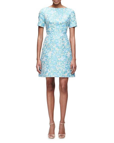 Lela Rose Short-Sleeve Floral-Print Dress, Blue/Multi