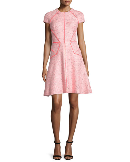 Lela Rose Blair Cap-Sleeve Sparkle Tweed Dress, Pink/Multi
