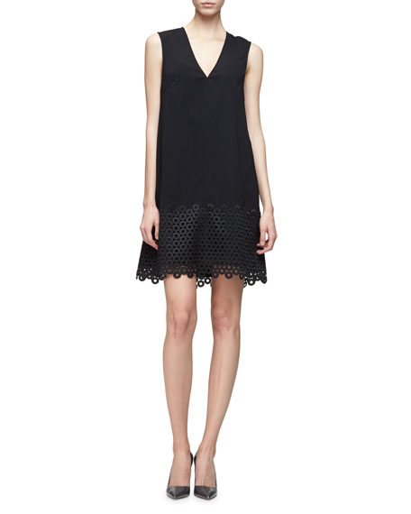 Lela Rose Sleeveless Lace-Hem Tunic Dress, Black