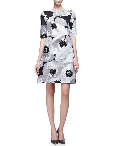 Half-Sleeve Oversize-Floral Dress, Silver