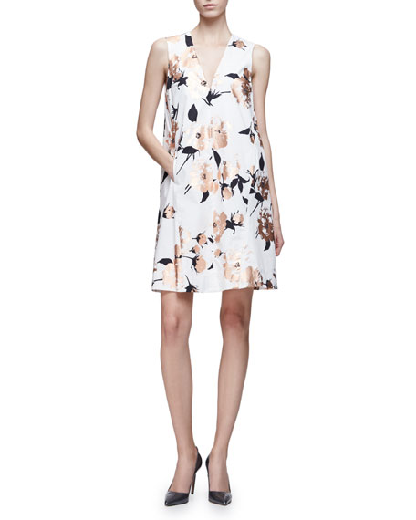 Lela Rose Sleeveless Metallic-Floral A-Line Dress, Copper