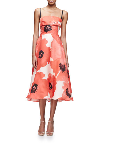 Sleeveless Oversize-Floral Midi Dress, Red/Multi