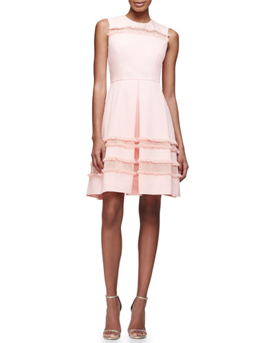Sleeveless Fringe-Trim Fit-&-Flare Dress, Blush