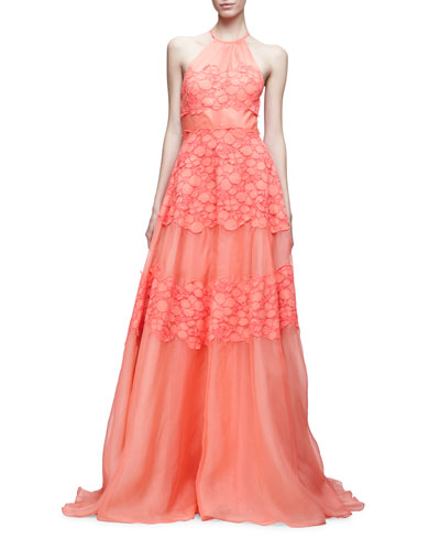 Halter-Neck Floral-Corded Gown, Pink/Multi