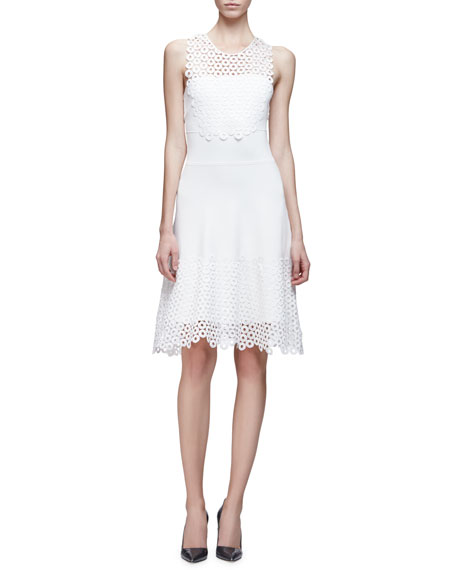Lela Rose Sleeveless Lace Applique Dress, Ivory
