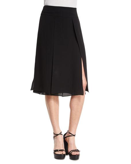 Michael Kors Collection Slashed A-Line Skirt, Black