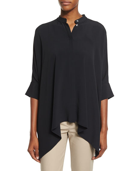 Michael Kors Collection Short-Sleeve Draped Blouse, Black