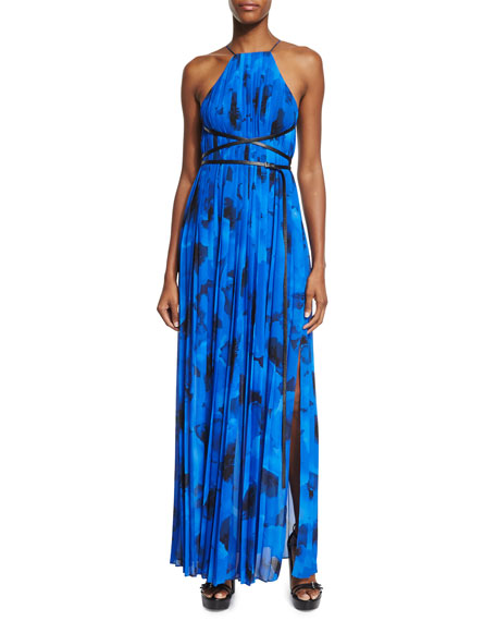 Michael Kors Collection Sleeveless Floral-Print Pleated Gown,