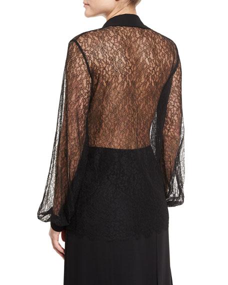 Long-Sleeve Self-Tie Sheer Lace Blouse, Black