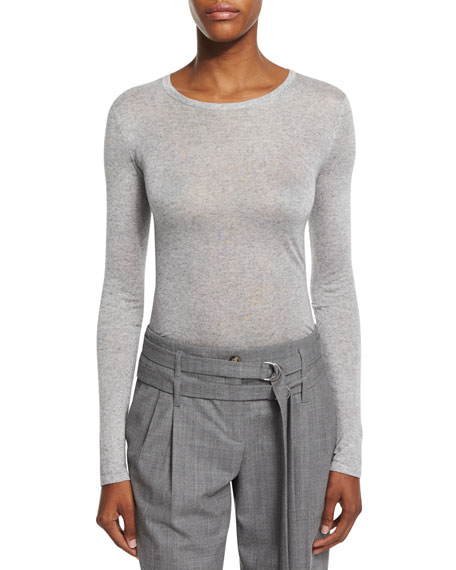 Michael Kors Long-Sleeve Round-Neck Tee, Heather Gray