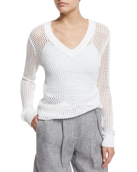 Michael Kors Collection Long-Sleeve V-Neck Linen Mesh Sweater,