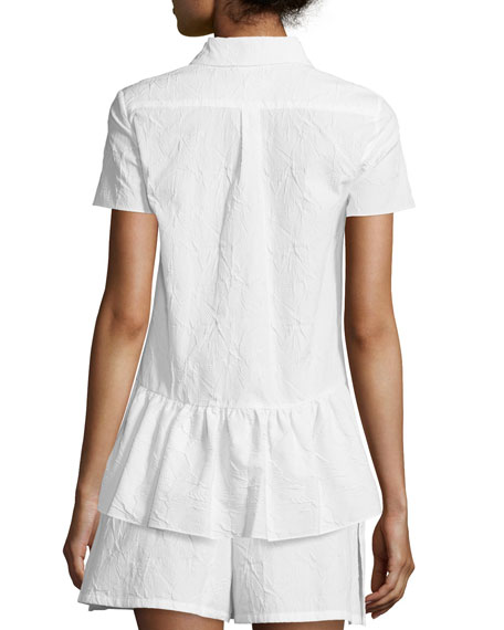 Short-Sleeve Embossed Poplin Blouse, White