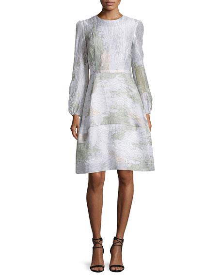 Co Bishop-Sleeve Printed Dress, Aqua