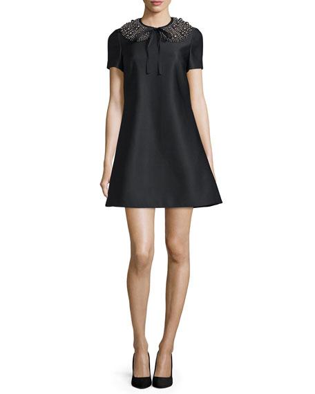 Co Embellished Short-Sleeve Dress, Black