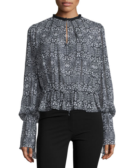 Derek Lam Long-Sleeve Medallion-Print Blouse, Black/Multi