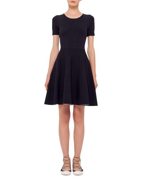 Akris punto Short-Sleeve Dot-Print Dress, Navy/Cream
