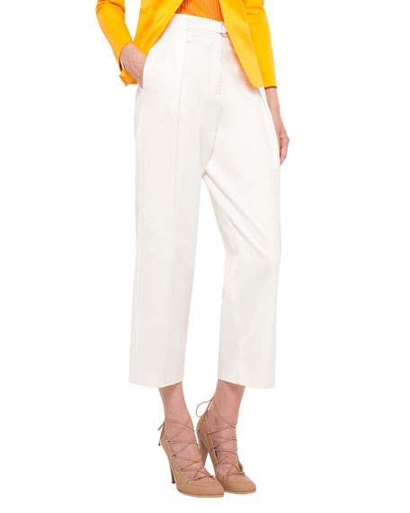 Akris punto Pleated-Front Wide-Leg Cropped Pants, Cream