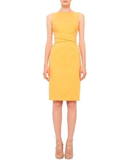 Akris punto Cross-Waist Knit Sheath Dress, Tangerine