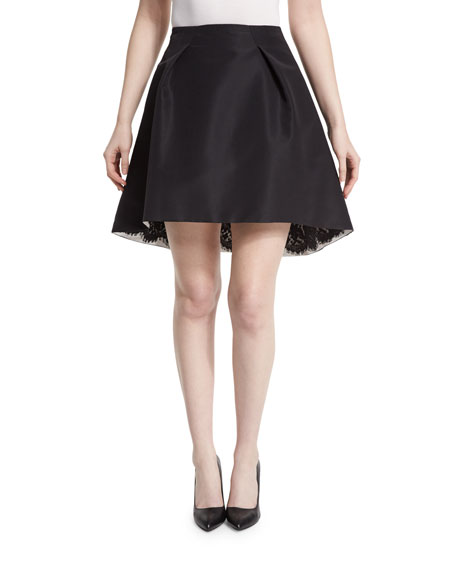Carolina Herrera Pleated-Front Lace-Trim Skirt, Black