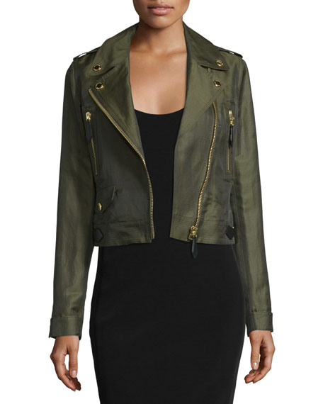Burberry Brit Patterton Linen-Blend Biker Jacket
