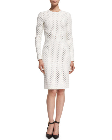 TOM FORD Long-Sleeve Broderie Anglaise Dress, Chalk